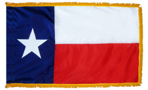 TX flag with gold fringe